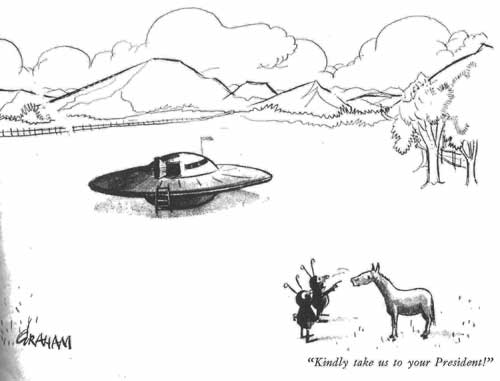 aliens to horse cartoon: 'Kindly take us to your president'