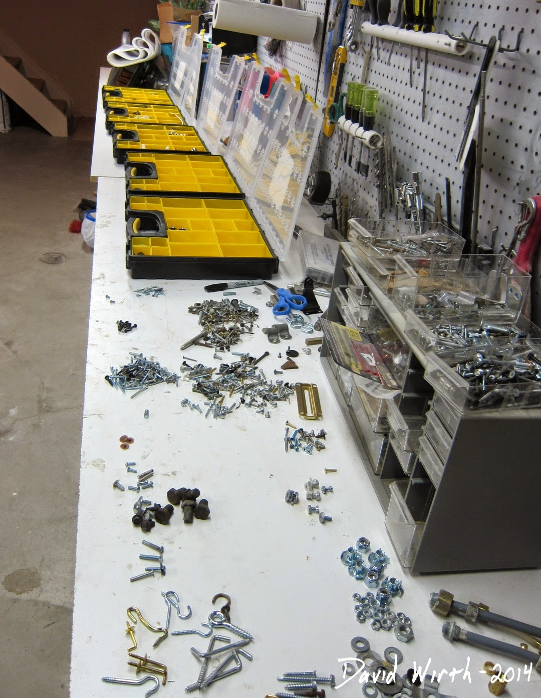 sorting parts into cases, workshop, tools, how to organize