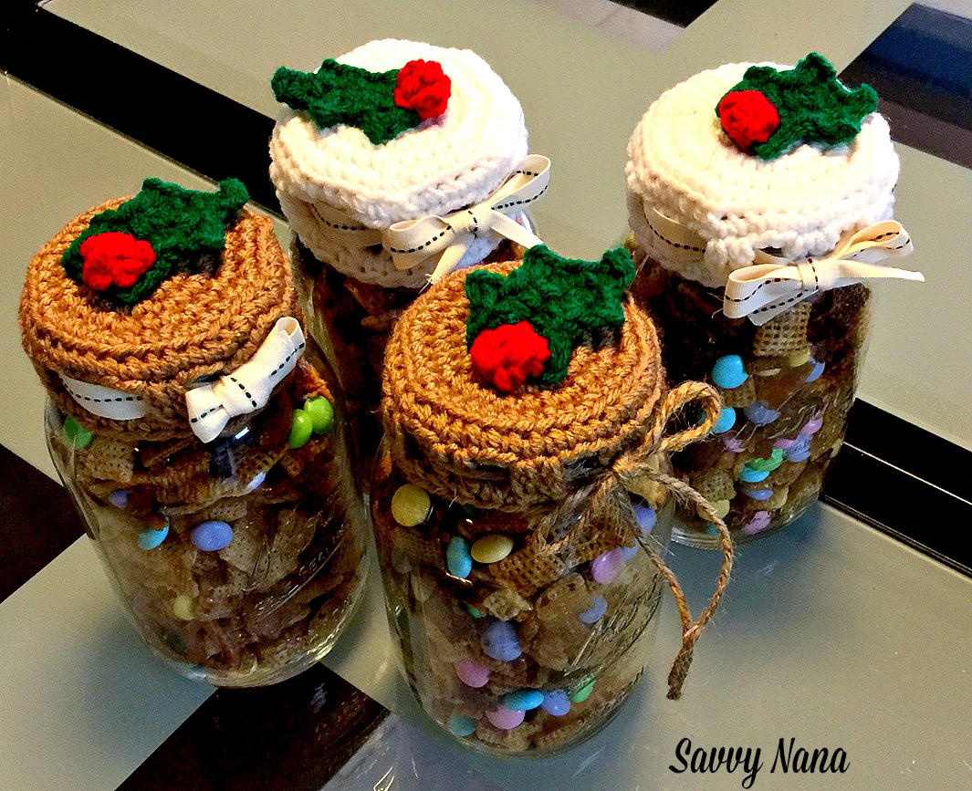 Crocheted Holiday Mason Jar Lid Covers Free Pattern Savvy Nana