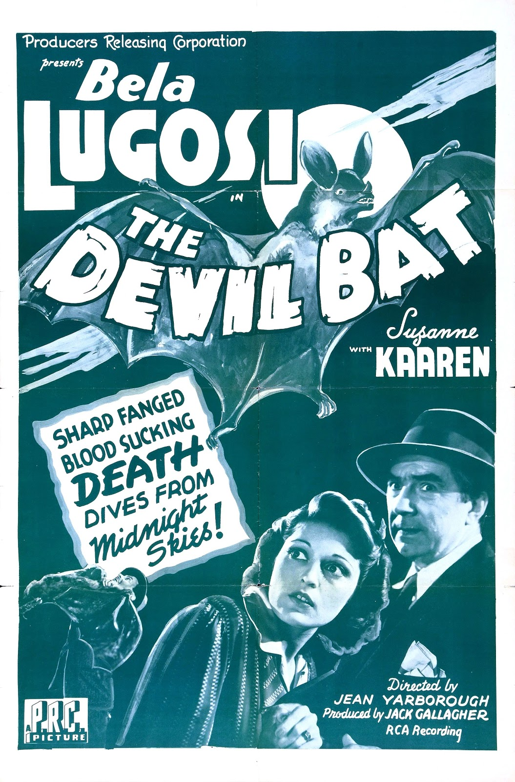 The Devil Bat Vintage Film Poster Starring Béla Lugosi and Suzanne Kaaren