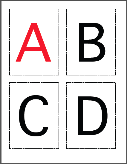 uppercase alphabet black with red vowels