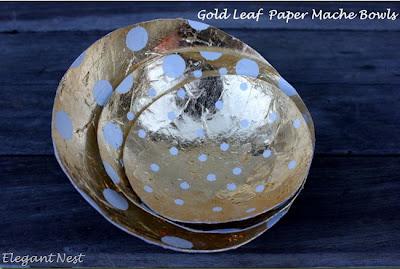 Golf Leaf Paper Mache Bowls