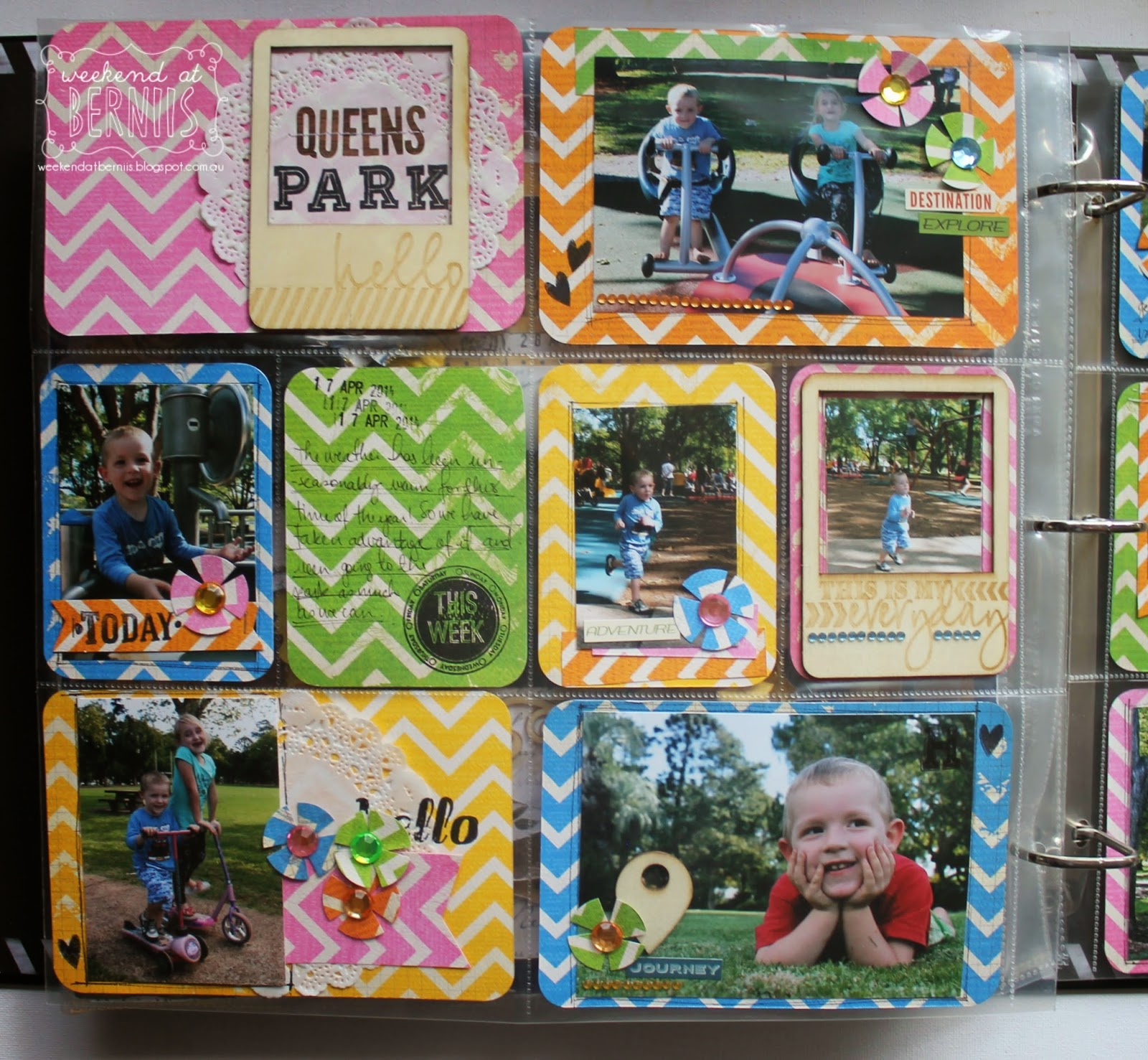 queen's Park layout by Bernii Miller for BoBunny using Double DOt Chevron and Double Dot Jewels.