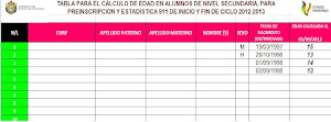 TABLA PARA CALCULAR EDADES 2012-2013