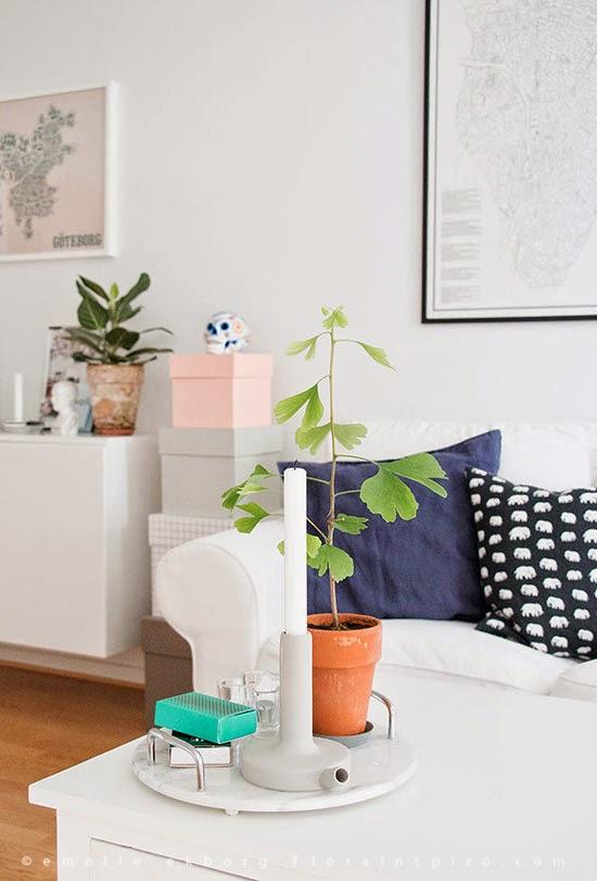 Cosy Studio Flat in Scandinavian Style, Decor8, fanny henricson, trettisjukvm, gingko plant