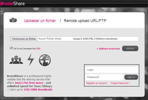 hébergeur de fichiers, téléchargement rapide