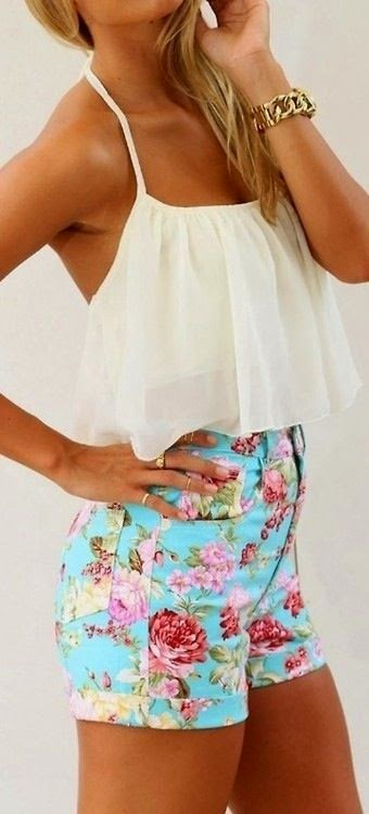 Floral Shorts With White Blouse