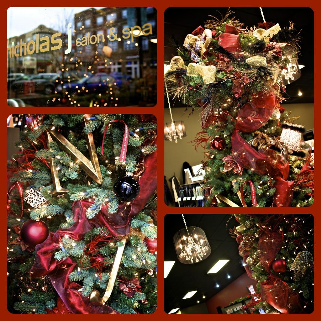 Merry me events nicholas j salon and spa holiday decor for Salon xmas decorations