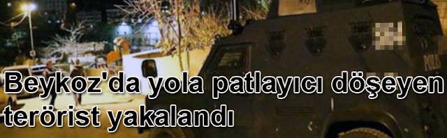 İstanbul Beykoz'da yola patlayıcı döşeyen terörist yakalandı