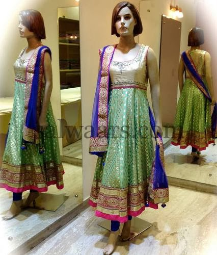 Light Green Benaras Back Neck Salwar