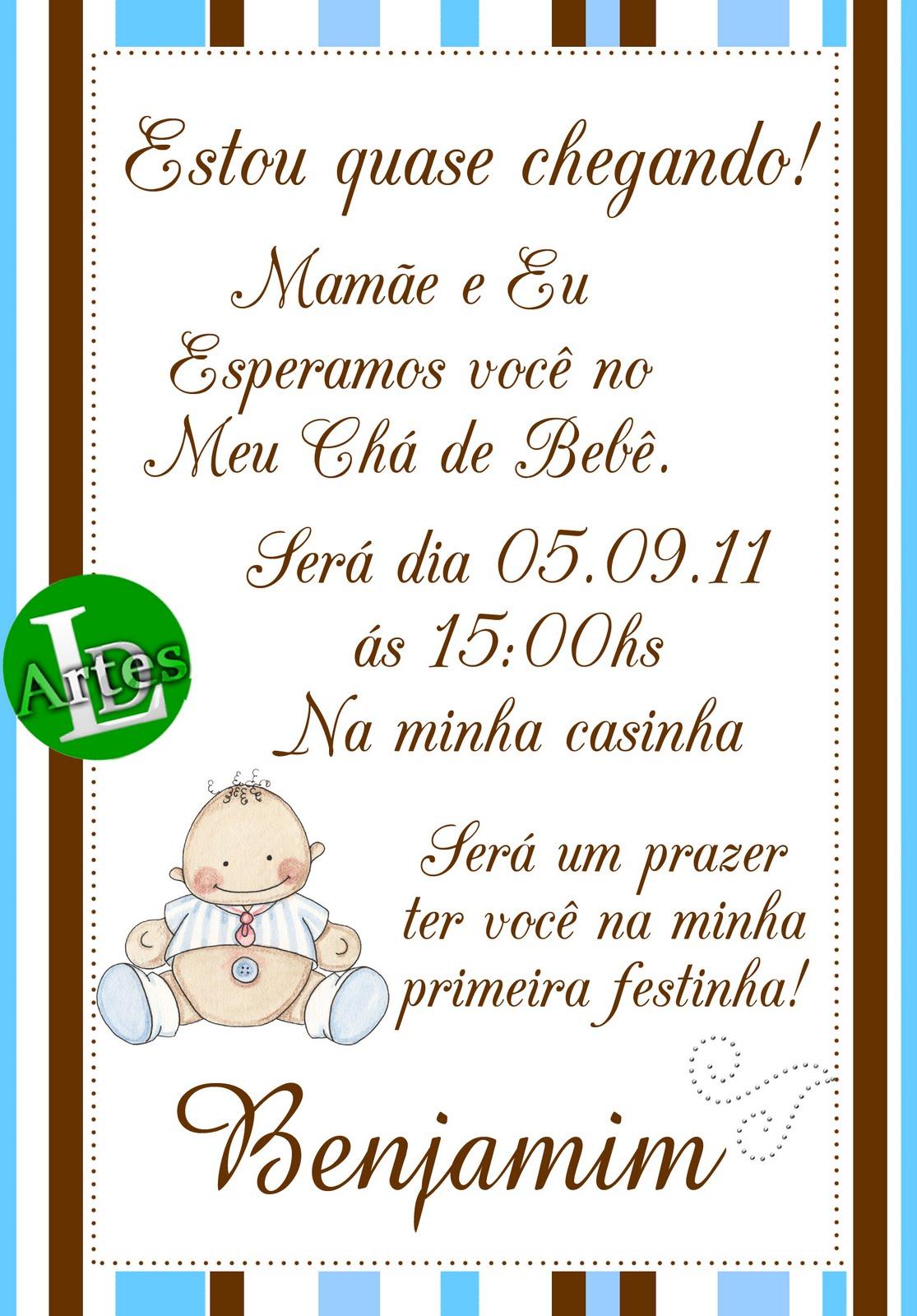 Espaço Criativo Ld Artes Convite Chá De Baby Marrom E Azul