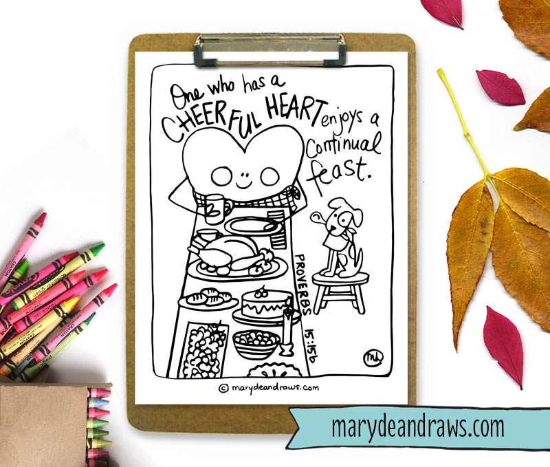 Proverbs 1515 Scripture Bible Verse Coloring Page Cheerful Heart