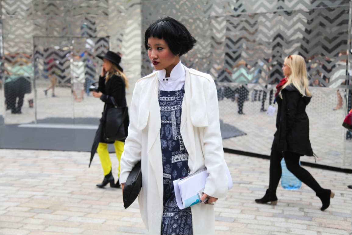 London Fashion Week street style white coat trend and dark vixen red lips