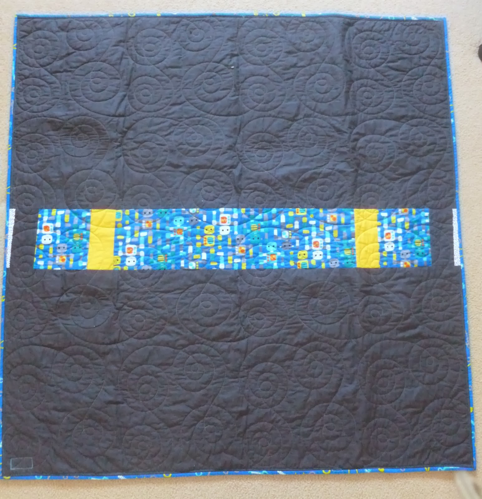 Jack 39 s room quilts robot cot quilt for Robot quilt fabric