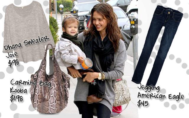 Jessica Alba, Dhana, Joie, Carmine Bag, Kooba, Jeggings, American Eagle, style, fashion, celeb, scarves, scarf