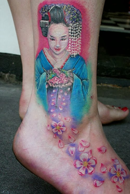 Tatuagem Gueixa pé