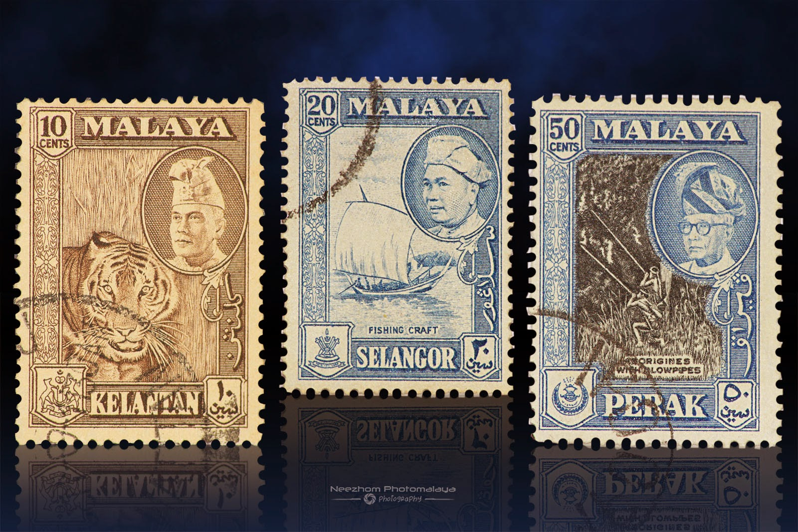 Malaya  1957 - 1961 stamps 10 Cents, 20 Cents, 50 Cents
