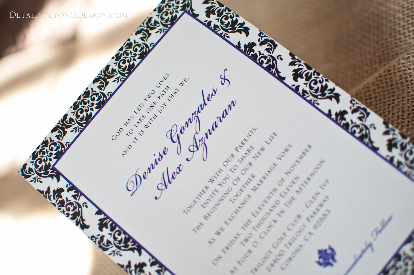 Details Beyond Design by Lauren: Wedding Invitations - Purple and ...