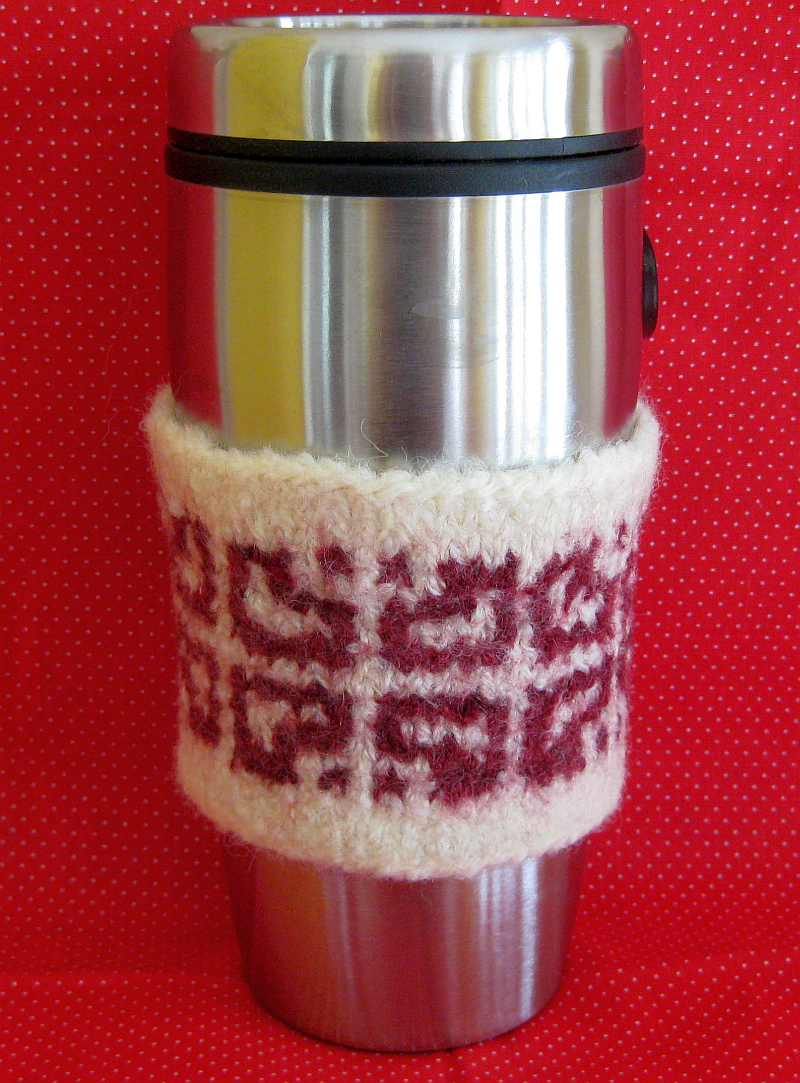 Verdigris Knits: Valentine Mosaic Coffee Cup Sleeve - free pattern