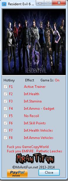 Resident Evil 6 1.0.6 Trainer +7 MrAntiFun