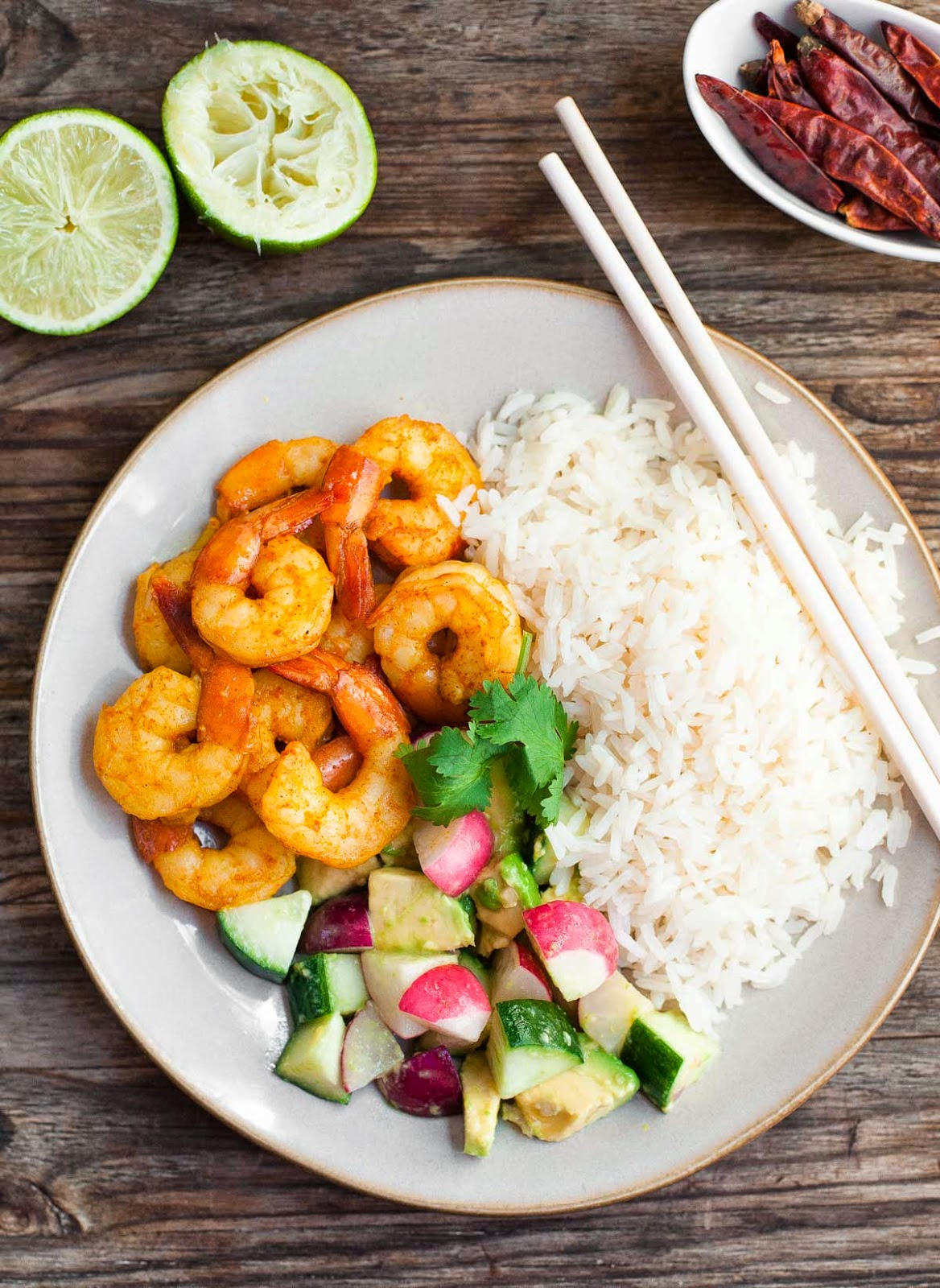 Burmese Chile Prawns with Cucumber & Avocado Salad--Easy, 30-minute paleo meal | acalculatedwhisk.com