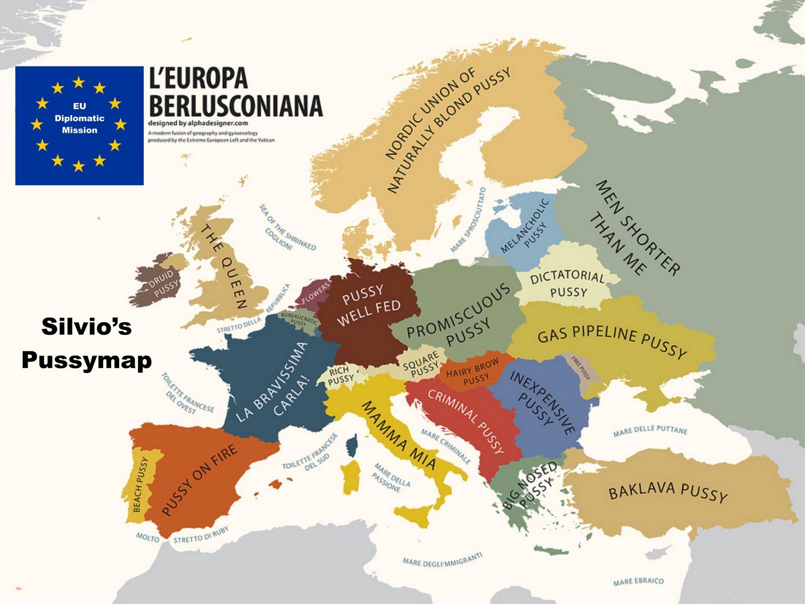 Silvio Berlusconis Map of European Pussy LOL  The Beer Barrel