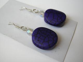 biżuteria z półfabrykatów - fioletowe kolczyki