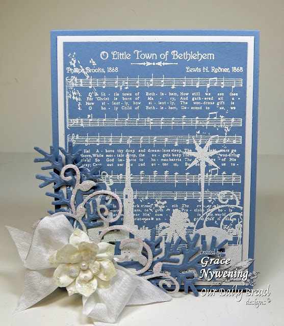 ODBD stamps Town of Bethlehem Background, Fancy Foliage Dies, designed by Grace Nywening