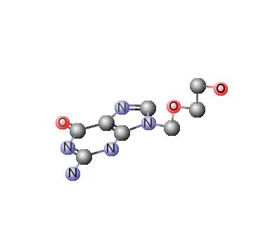 Gambat Struktur Aciclovir (Acyclovir) 3D