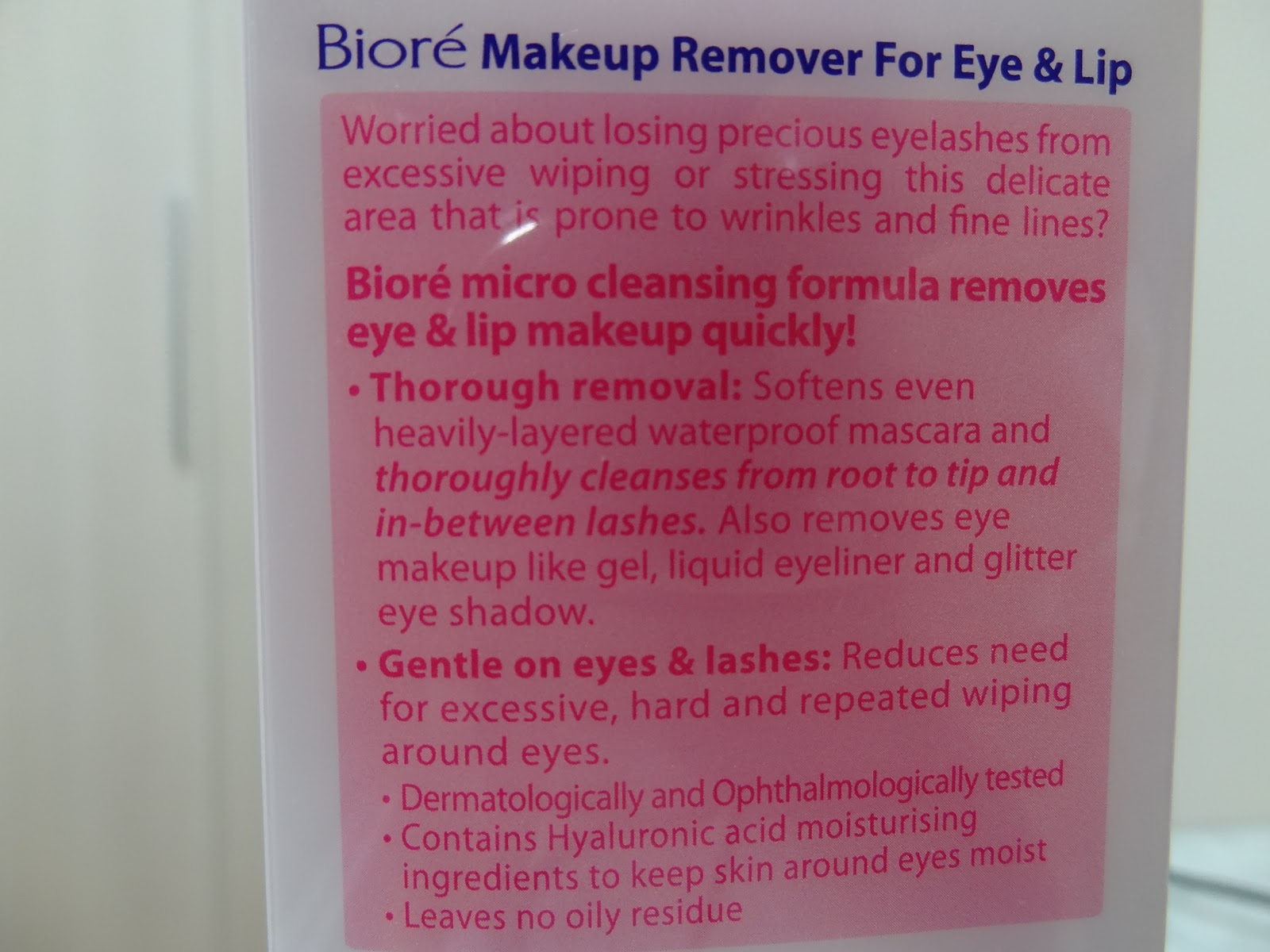 Properties of Biore Makeup Remover for Eyes and Lips