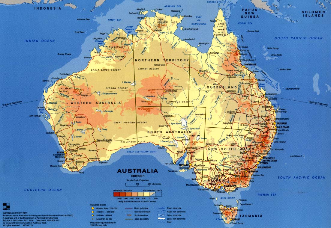 Online Maps Australia Physical Map - Australia physical map