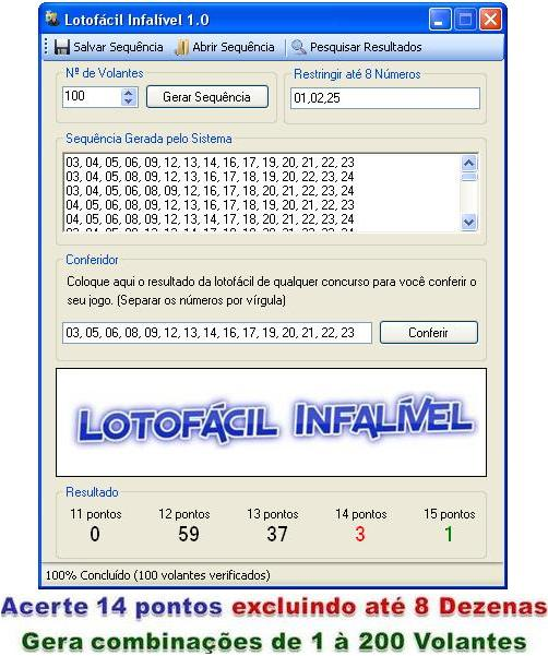 software lotofacil infalivel