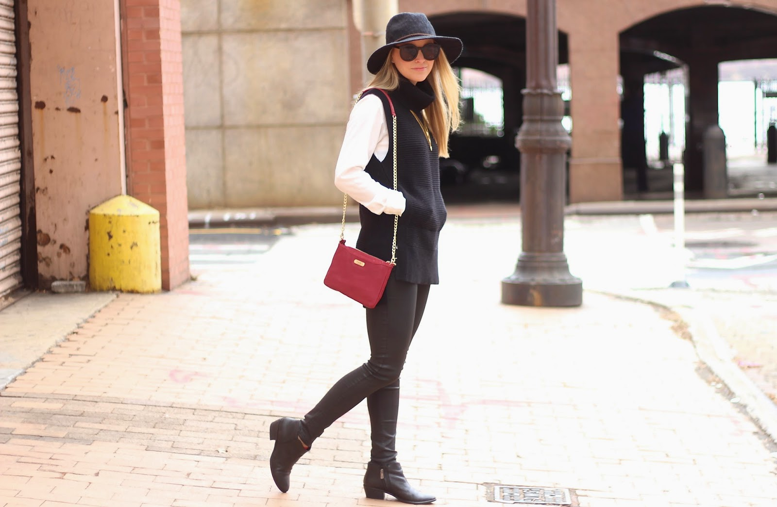 banana republic tunic sweater, coated denim, marissa webb, black floppy hat, ankle booties