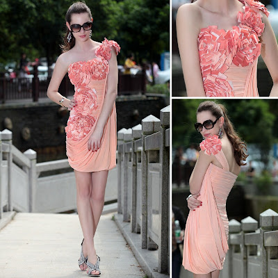 Coral One Shoulder Short/Mini Chiffon Dress