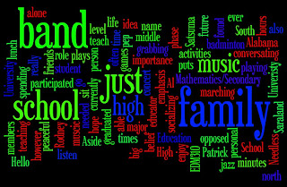 Created by wordle.net that used words that described the student and formed an image.