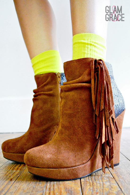 DIY Glitter Wedge Boots