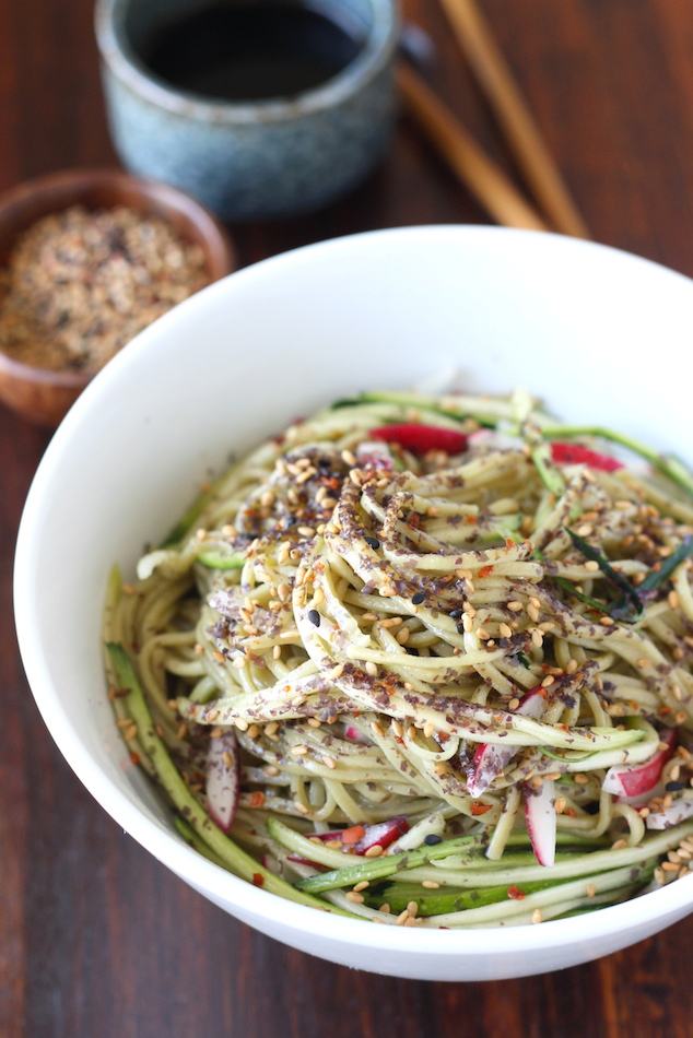 Green Tea Soba Noodle Salad with Japanese Sesame Seasoning by SeasonWithSpice.com