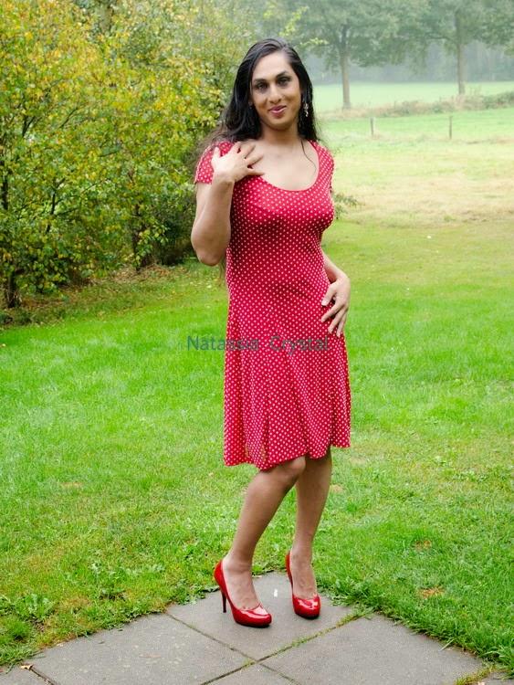 Natassia Crystal natcrys, red polka-dot dress, corner terrace