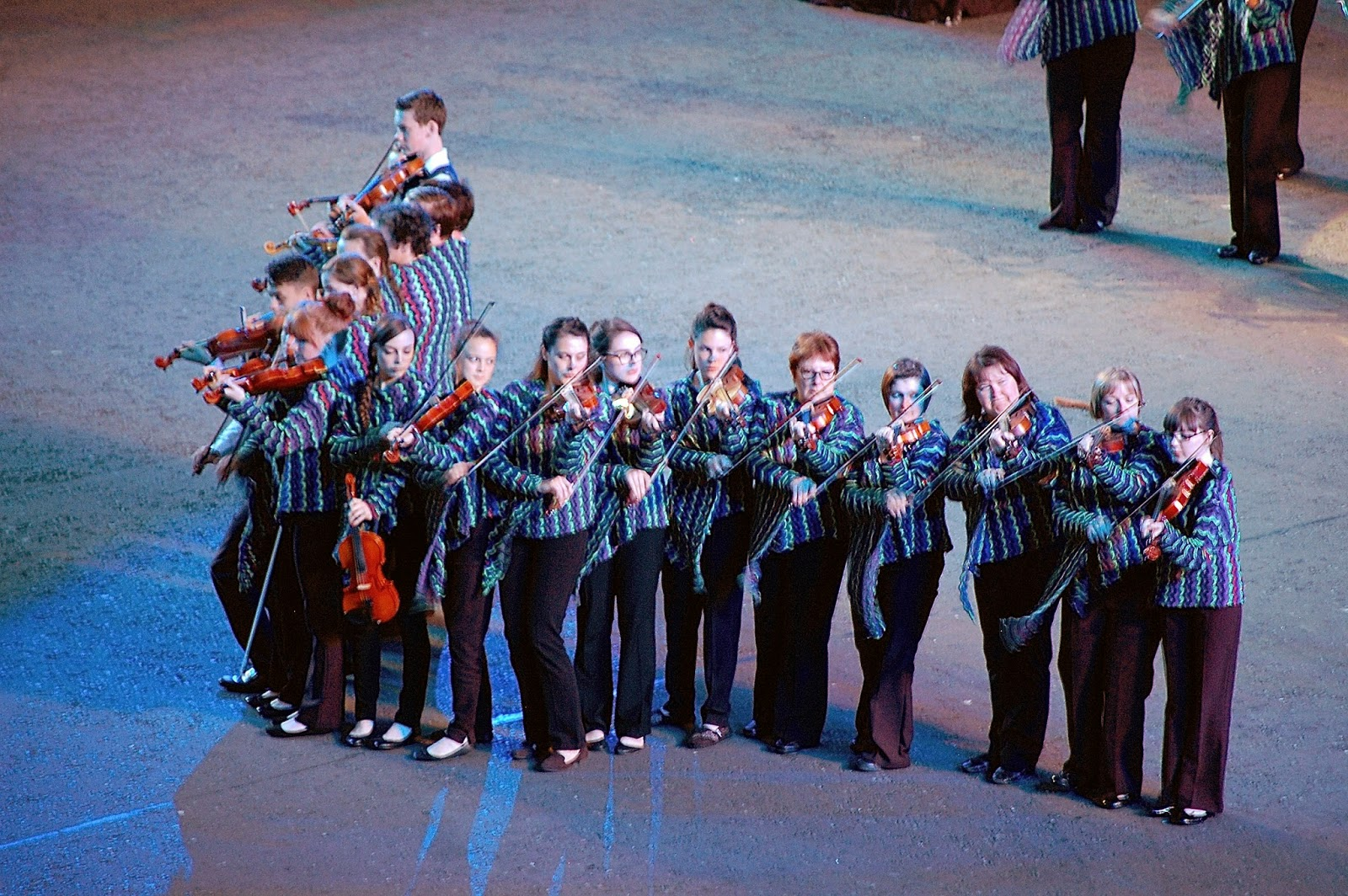Shetland fiddlers trying to march