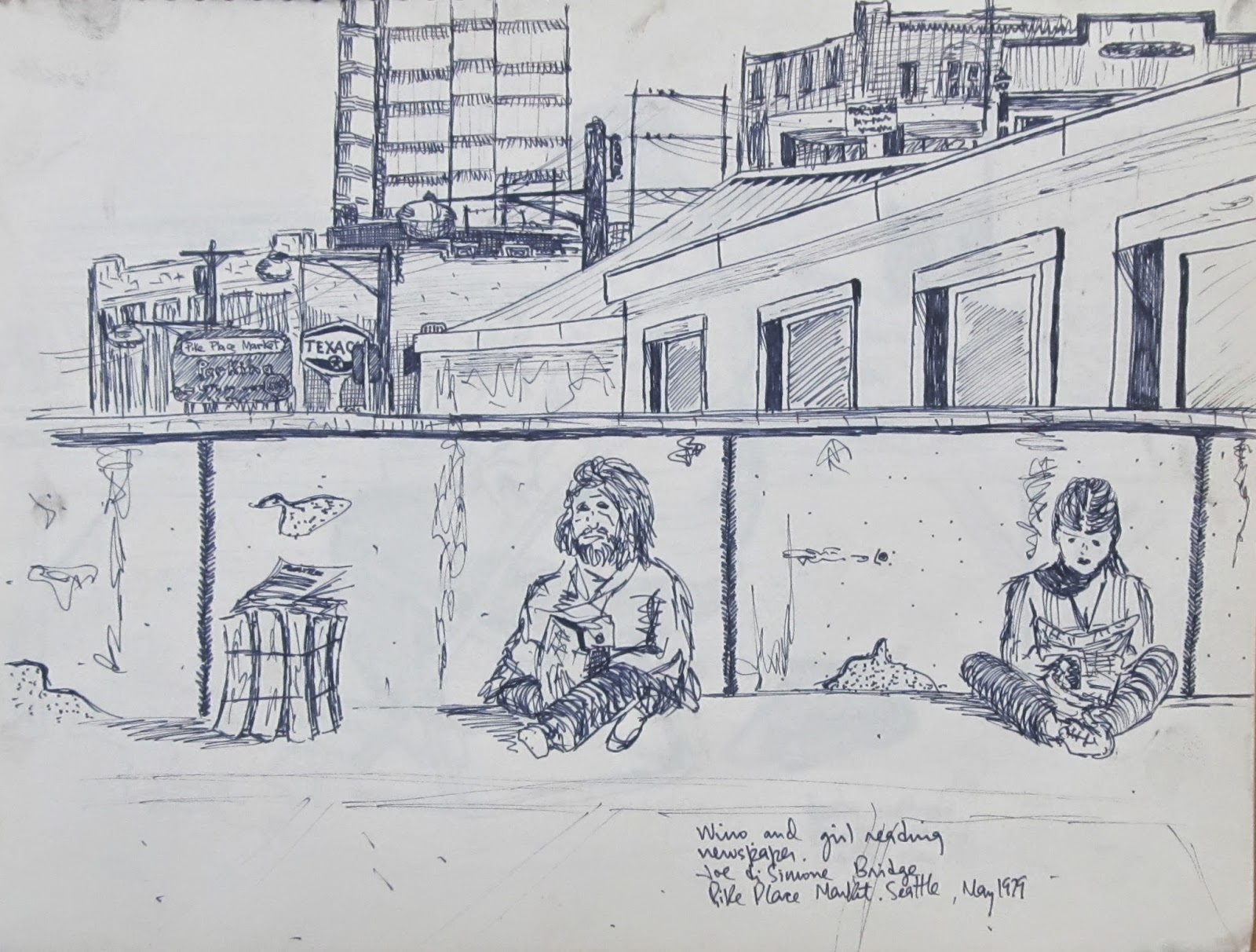 """Wino and Girl, Pike Place Market, Seattle."" 8.5 x 11 inches. Pen and Ink. 1979."