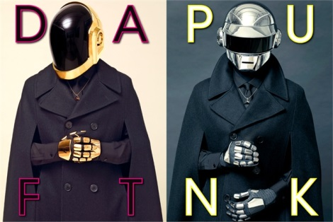 Daft Punk wearing winter coats in L'Uomo Vogue