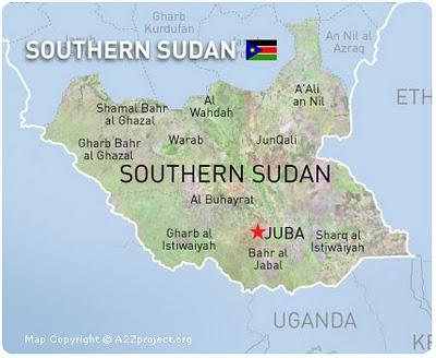 Peta Negara Sudan Selatan