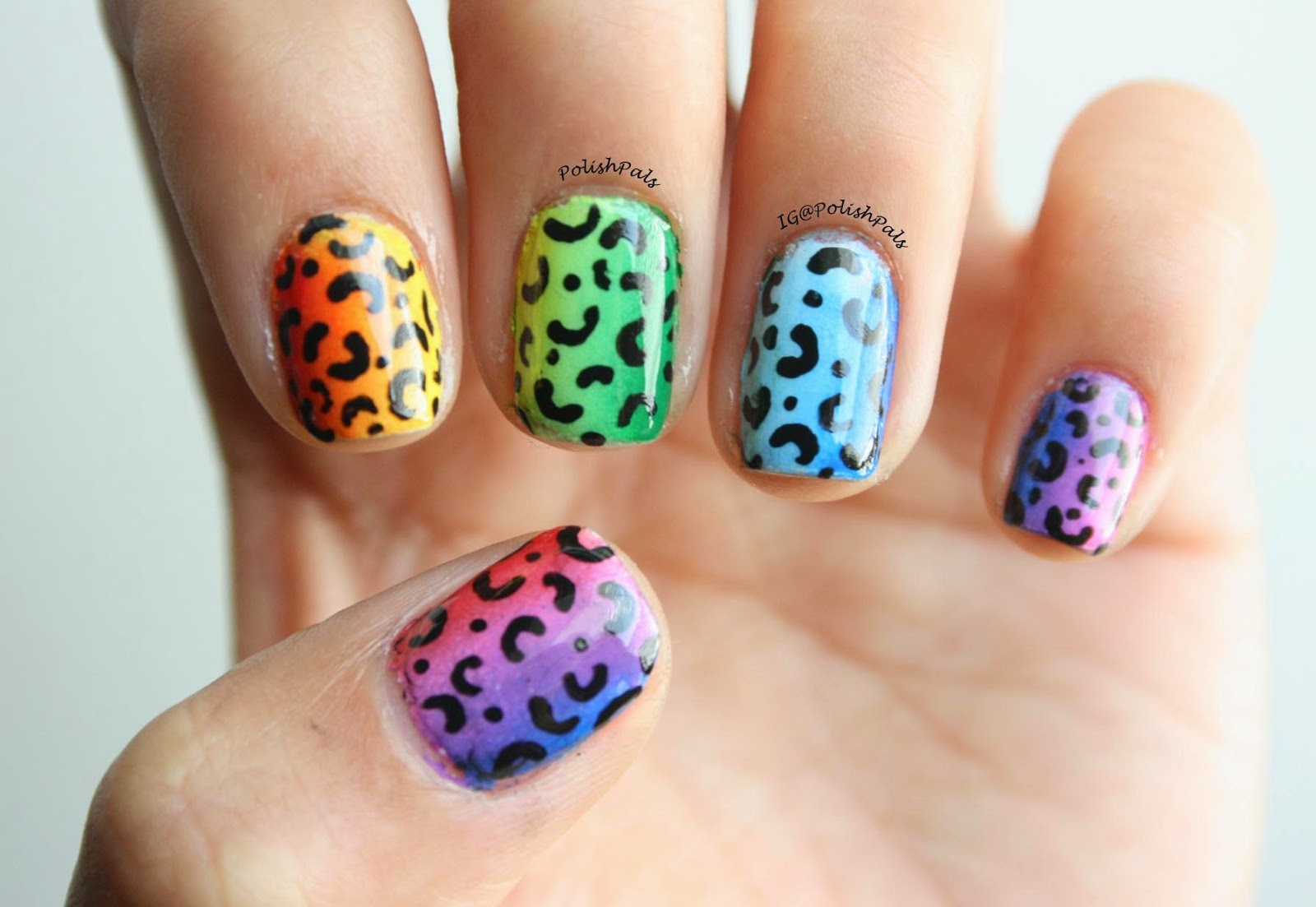 Rainbow Leopard Print Nails