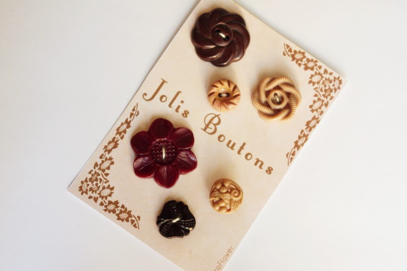 Boutons vintage anciens marrons - www.cocoflower.net
