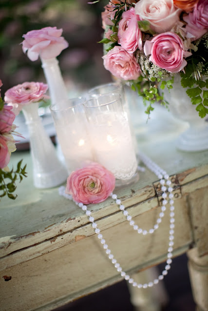 Pearls Lace And Pink Garden Wedding Inspiration For
