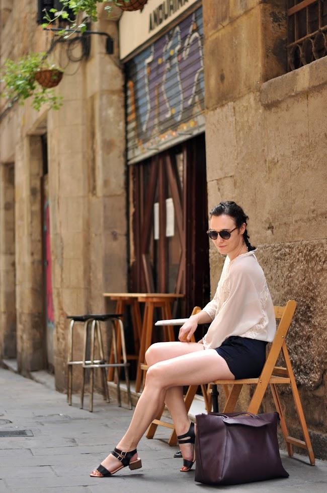 Mango lace blouse Barcelona Gothic