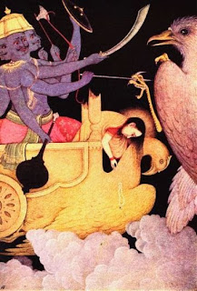Jatayu, incarnation of Garuda and king of the vultures, swooping down on Ravana as he abducts Sita in his magic chariot Pushpaka. Jatayu was fatally wounded, but lived long enough to tell Rama what had happened. From a copy of a Moghul painting, seventeenth century, Bharata Kala Bhavan, Banaras Hindu University.