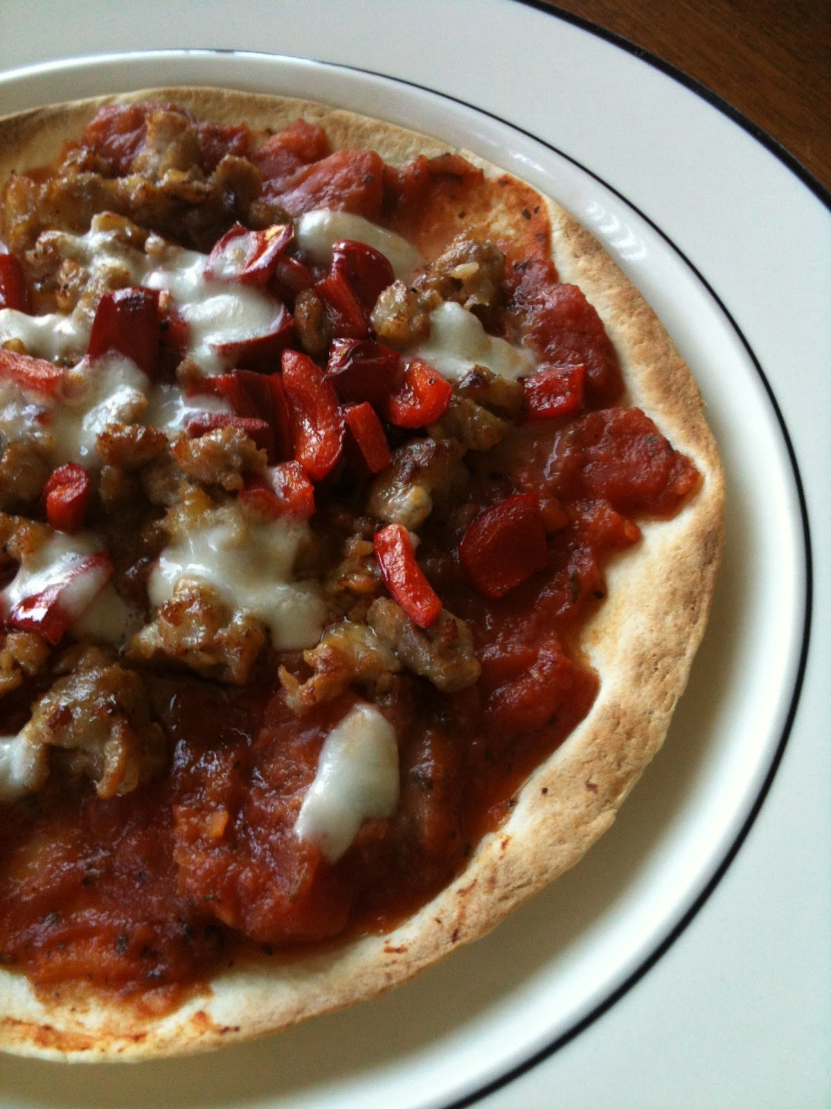 Salted Spoon: Sausage and Pepper Breakfast Tortilla Pizza