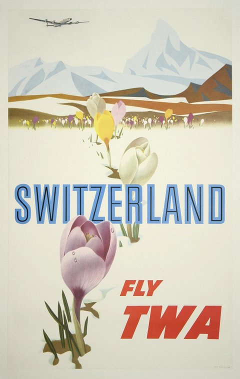 classic posters, free download, graphic design, retro prints, travel, travel posters, vintage, vintage posters, Switzerland, Fly TWA - Vintage Travel Poster