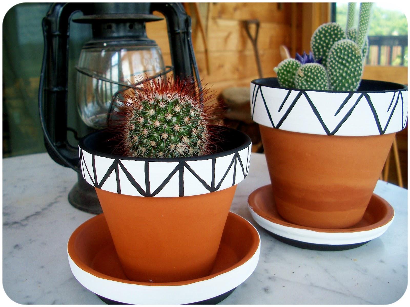 halfway to hipster painted geometric flower pots. Black Bedroom Furniture Sets. Home Design Ideas